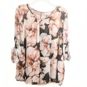 NWT Calvin Klein Floral Roll Sleeve Chiffon Blouse